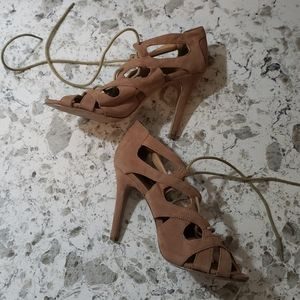 F24 Lace-Up Tan Heels Size 9